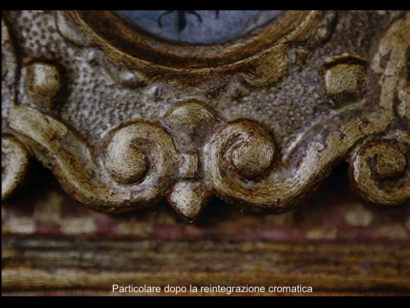 battistero ligneo policromo e dorato restauro