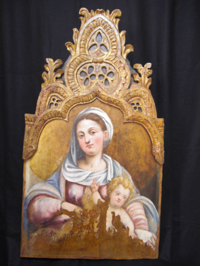 Restauro opera d'arte: Madonna col bambino.
