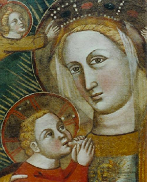 Restauro opera d'arte Madonna allattante il bambino.